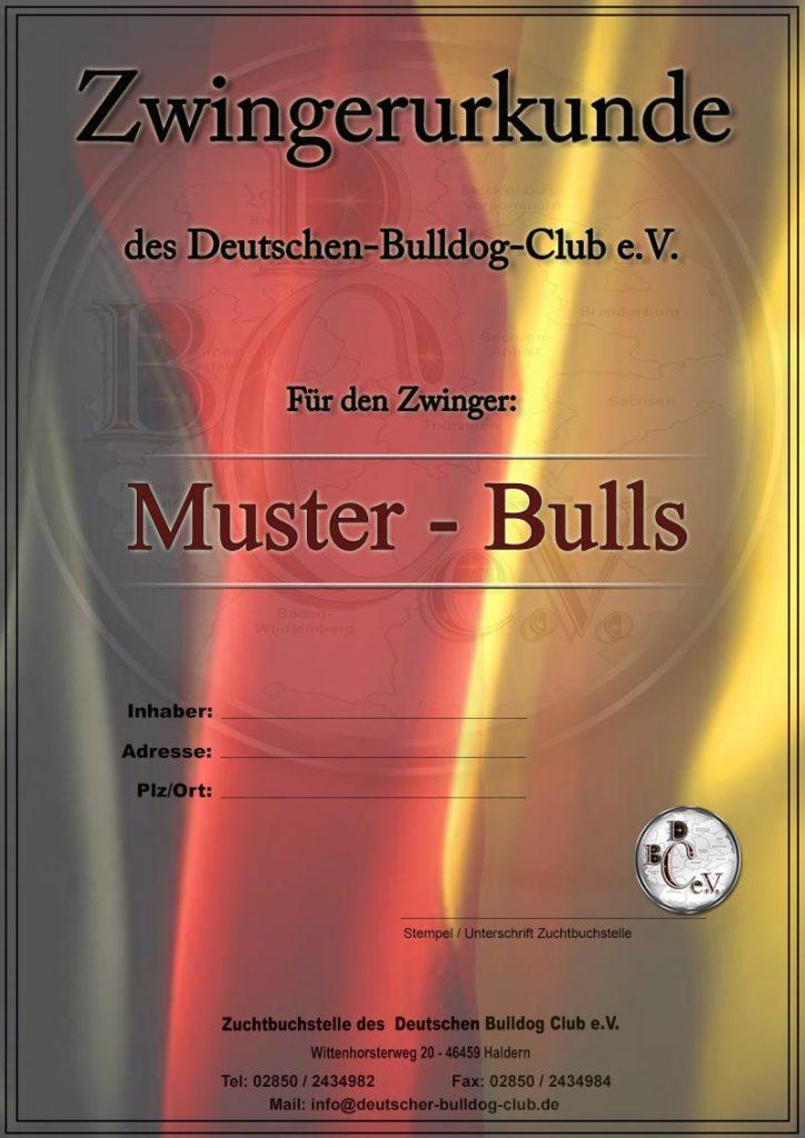 Zwingerurkunde Deutscher Bulldog Club